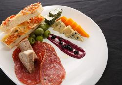 charcuterie platter with cheese and cured meats